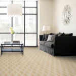 fashion inspired carpeting in living room